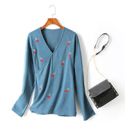 Josie Plus Size Wrap V Neck Cherry Embroidery Knit Sweater Long Sleeve Blouse (Blue, Cream, Black)