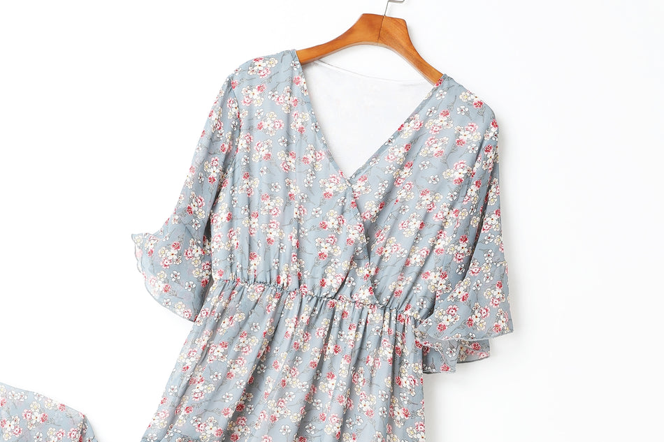 Audrey Blue Floral Print V Neck Bell Sleeve Chiffon Plus Size Mid Sleeve Dress