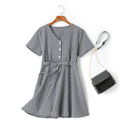 Claire Plus Size Checks Print V Neck Buttons Waist Bow Tie Swing Short Sleeve Dress (Blue, Yellow)