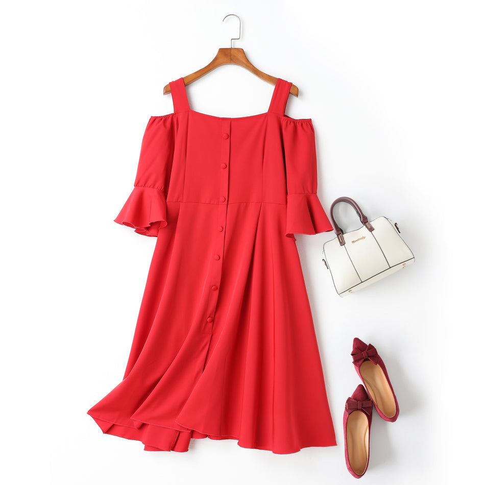 Colene Plus Size Off Shoulder Bell Sleeves Buttons Swing Mid Sleeve Dress (Ready Stock Red 4XL - 1 Piece)