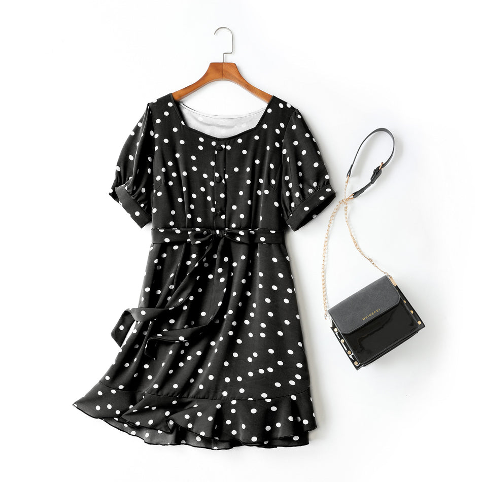 Caitlyn Plus Size Square Sweetheart Neck Polka Dots Waist Tie Mermaid Short Sleeve Dress