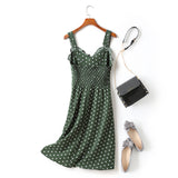 Felice Plus Size Polka Dots Sweetheart Neckline Camisole Sleeveless Dress (Green, Black)