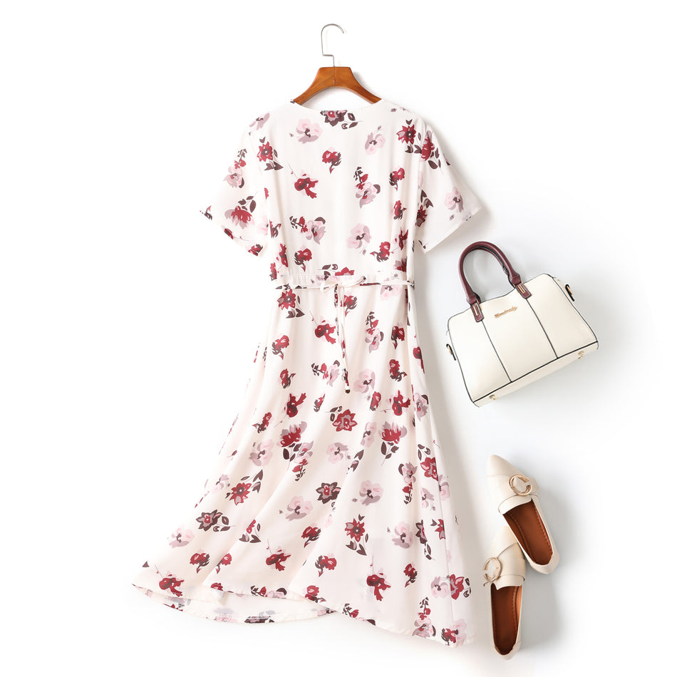 New black prints Midi chiffon dresses plus size casual dress casual long sleeve two pieces dress