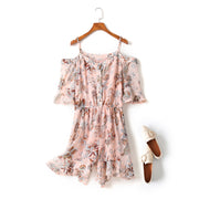 Hailey Plus Size Pink Floral Print Buttons Strappy Off Shoulder Romper