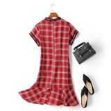 Eve Plus Size Cheongsam Qipao Checked Print Mermaid Short Sleeve Dress (Red)