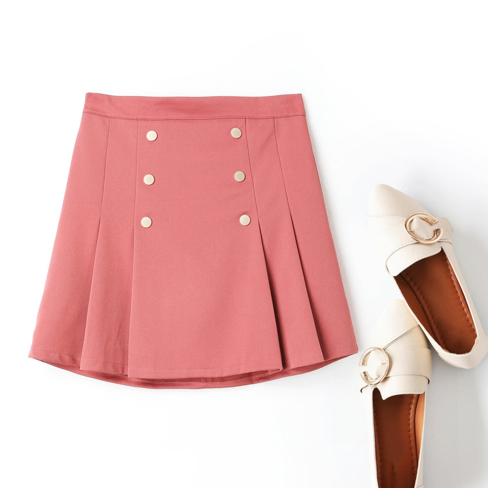 Adelynn Pleat Double Breast Buttons Plus Size Mini Skirt (Pink, Black) (Ready Stock Pink 4XL - 1 Piece)
