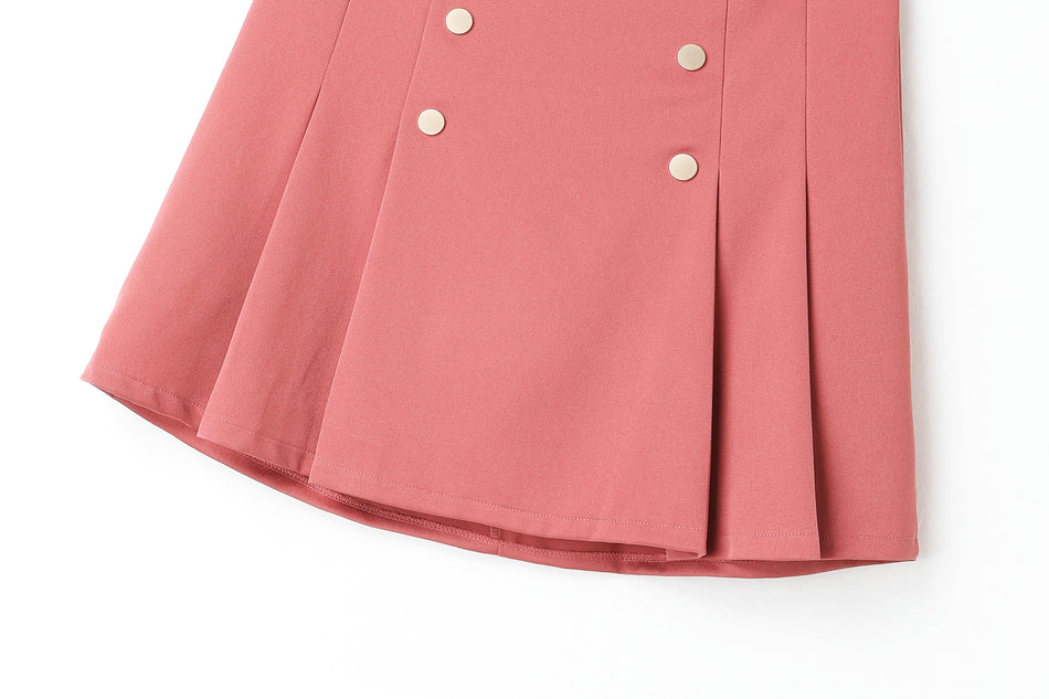 Adelynn Pleat Double Breast Buttons Plus Size Mini Skirt (Pink, Black)