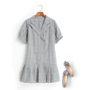 Celine Plus Size Double Breast V Neck Trench Coat Shift Short Sleeve Shirt Dress (Grey, Pink, Yellow) (Ready Stock Grey 2XL - 1 Piece)