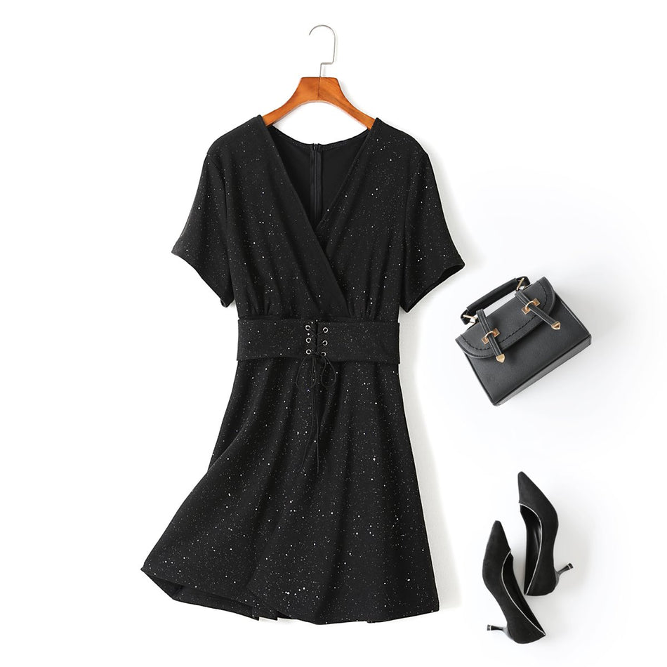 Tessa Plus Size Black Sparkle Corset Tie Wrap V Neck Short Sleeve Dress