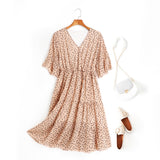 Alena Leafs Printed V Neck Tier Chiffon Plus Size Mid Sleeve Midi Dress