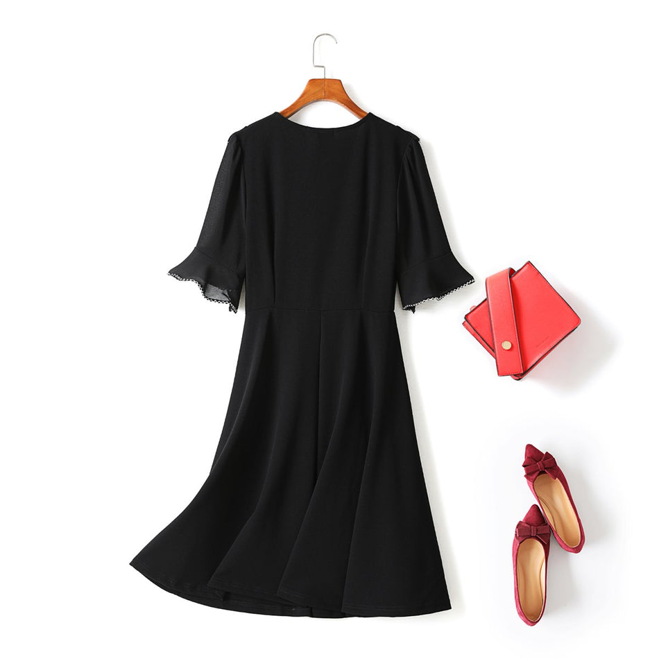 Willabelle Plus Size Black V Neck Wrap Pearls and Flutter Short Sleeve Midi Dress