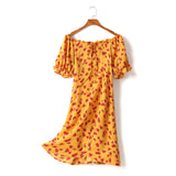 (2 Way Wear!) Gwen Plus Size Yellow Floral Corset Tie Off Shoulder Short Sleeve Dress