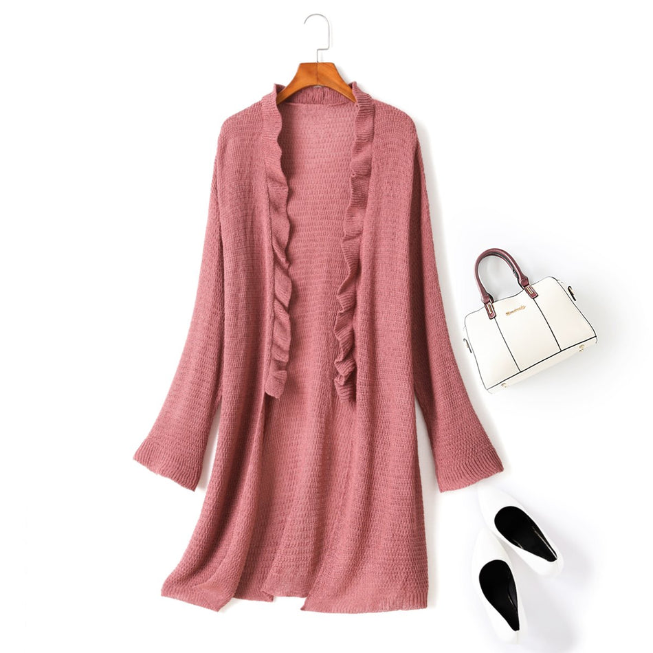 Plus size tunic midi knit cardigan