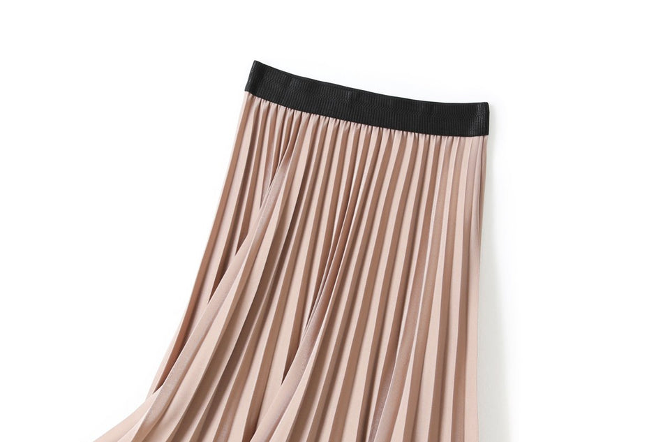 Valerie Plus Size Pleated Midi Skirt (Black, Green, Blue, Beige)