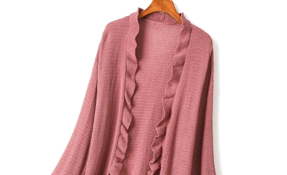 Trinity Plus Size Knit Frill Tunic Cardigan (Black, Pink, Cream, Brown)