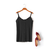Oriana Plus Size Ribbed Knitted V Neck Camisole Spaghetti Sleeveless Blouse (Red, Black, Pink, Green, Cream)
