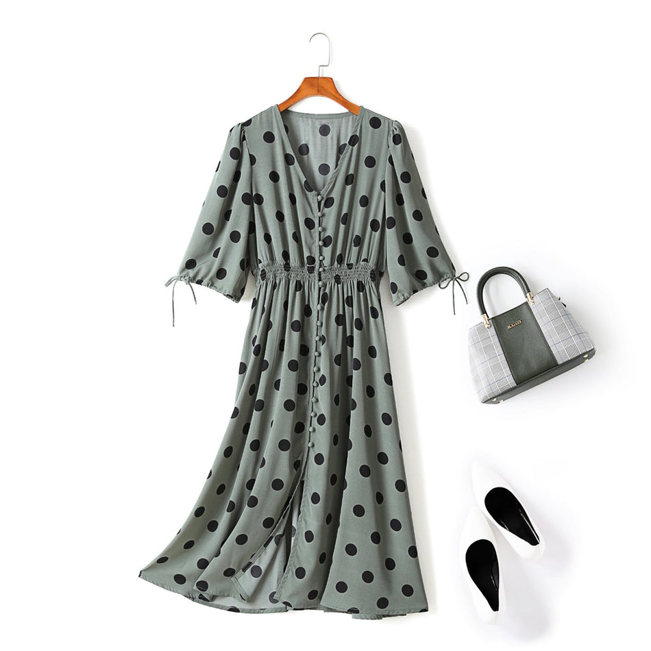 Tala Plus Size Vintage Polka Dots V Neck Short Sleeve Midi Dress (Green, Black)