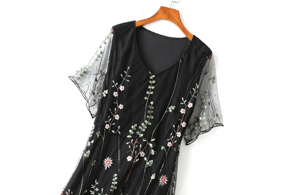 Scarlett Plus Size Dress for Wedding in Black Floral Organza with V Neck and Midi Dress Length