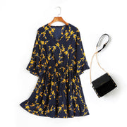 Anne Blue Floral V Neck Wrap Neck Bell Sleeve Tier Mid Sleeve Dress