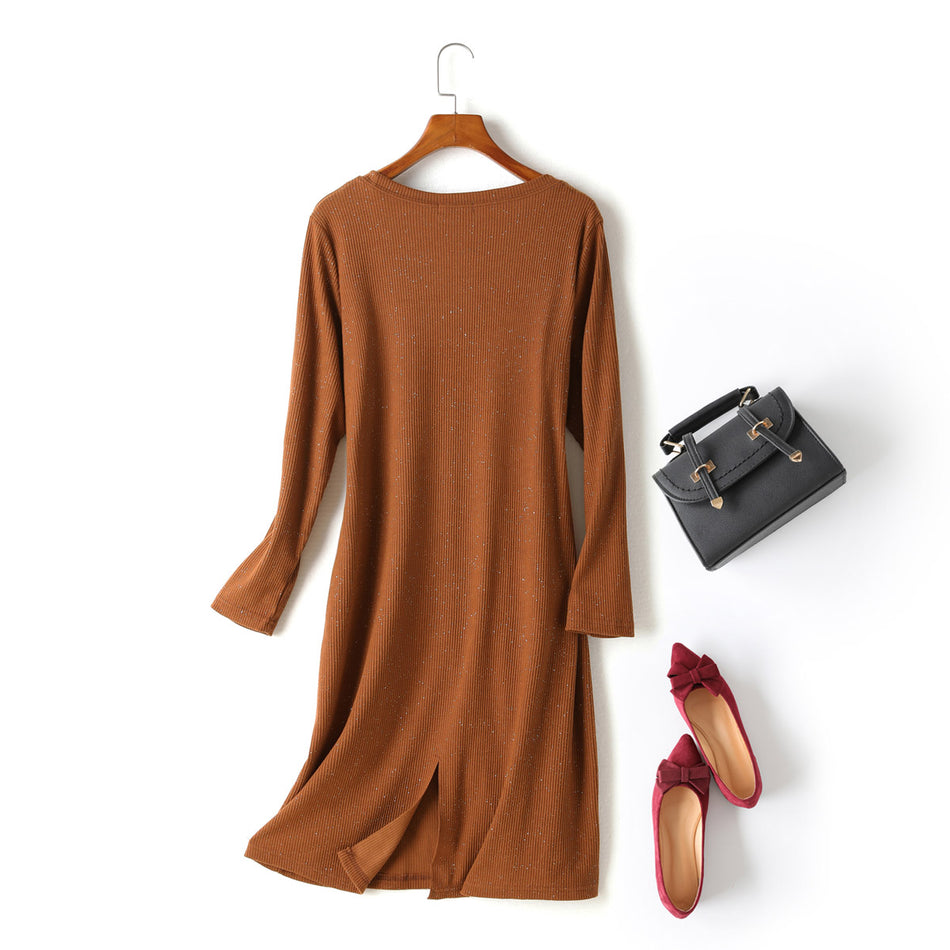 Kayla Plus Size Sparkle Ribbed Knit Slit Long Sleeve T Shirt Dress (Black, Brown)