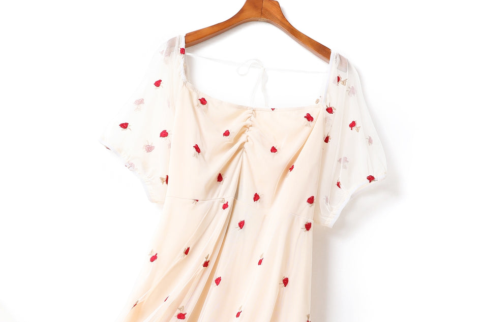 Daniela Plus Size Occasion Strawberry Embroidery Sweetheart Tulle Short Sleeve Midi Dress (Beige)