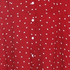 Charlene Plus Size Hearts Love Print Buttons Short Sleeve Dress (Black, White, Red)