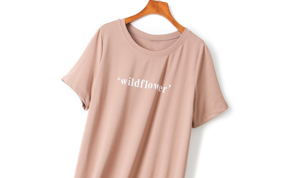 Wendy Plus Size Words Short Sleeve Midi T Shirt Dress and Pullover Set (Brown, Black, White)