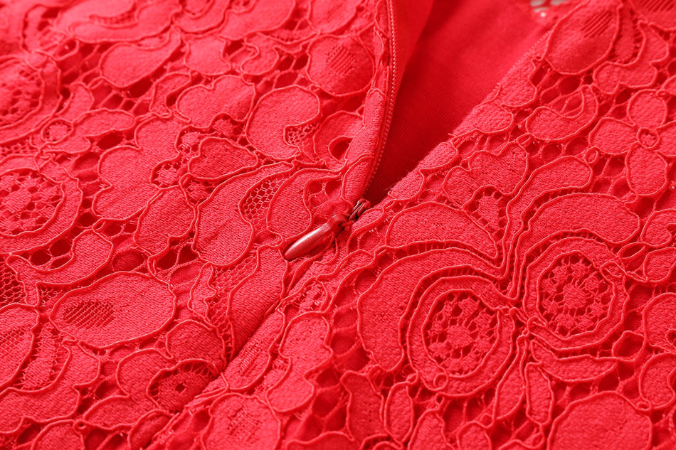 Elyse Plus Size Lace Cheongsam Qipao Long Sleeve Dress (Red)