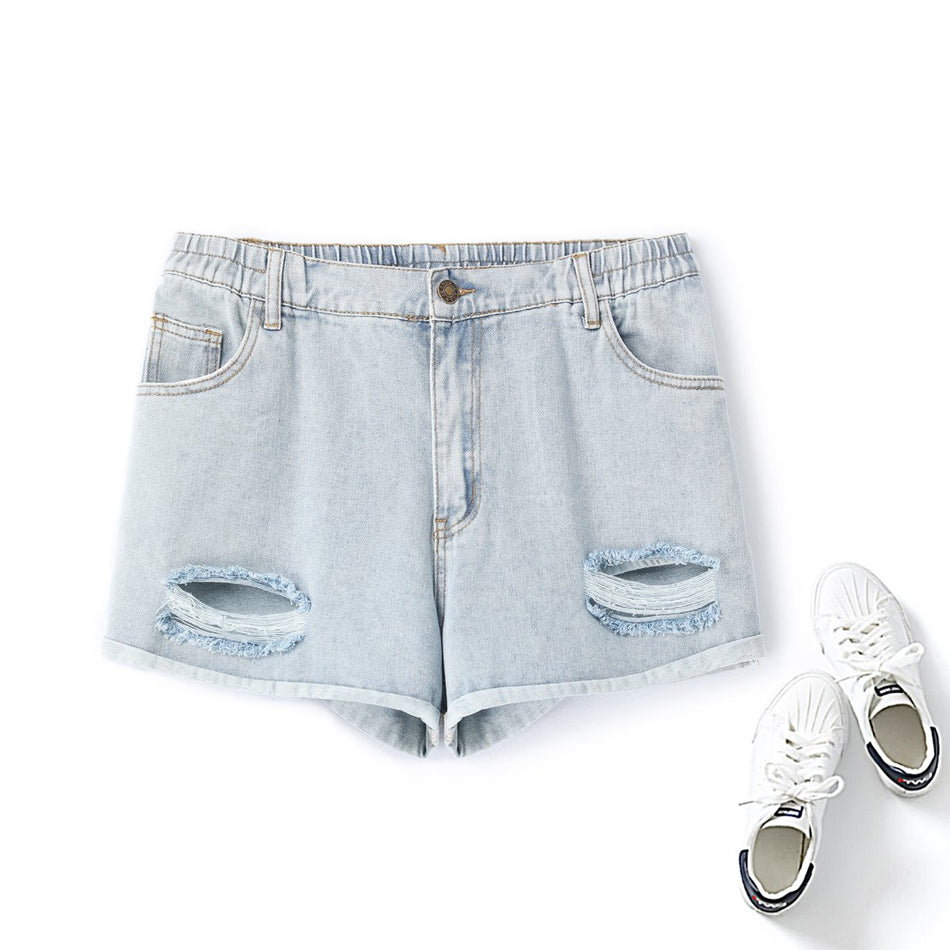 Plus Size Ripped Denim Shorts