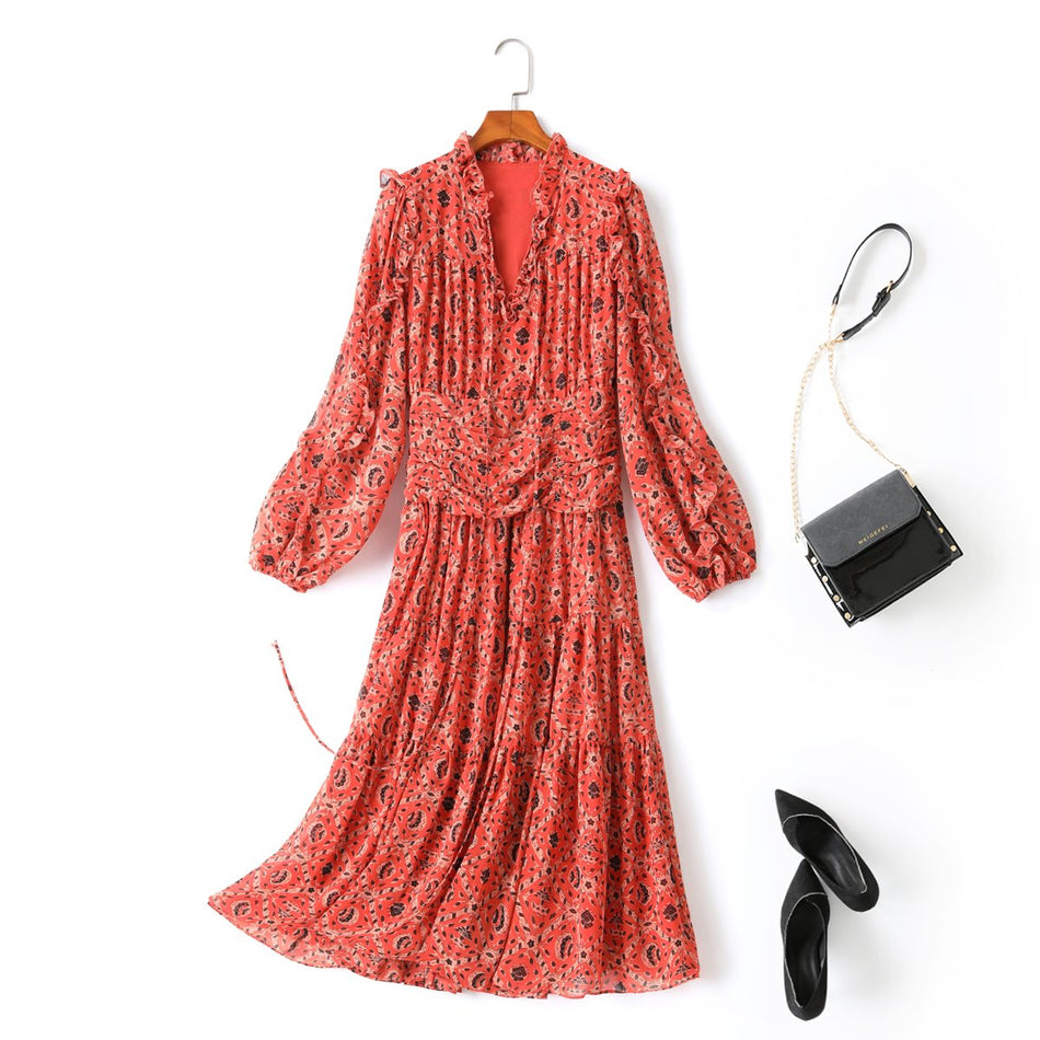 Harriet Plus Size Boho Long Sleeve Midi Dress