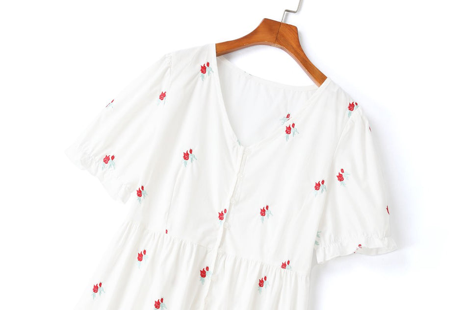 Haldisa Plus Size Floral Embroidery White Puff Sleeve Top