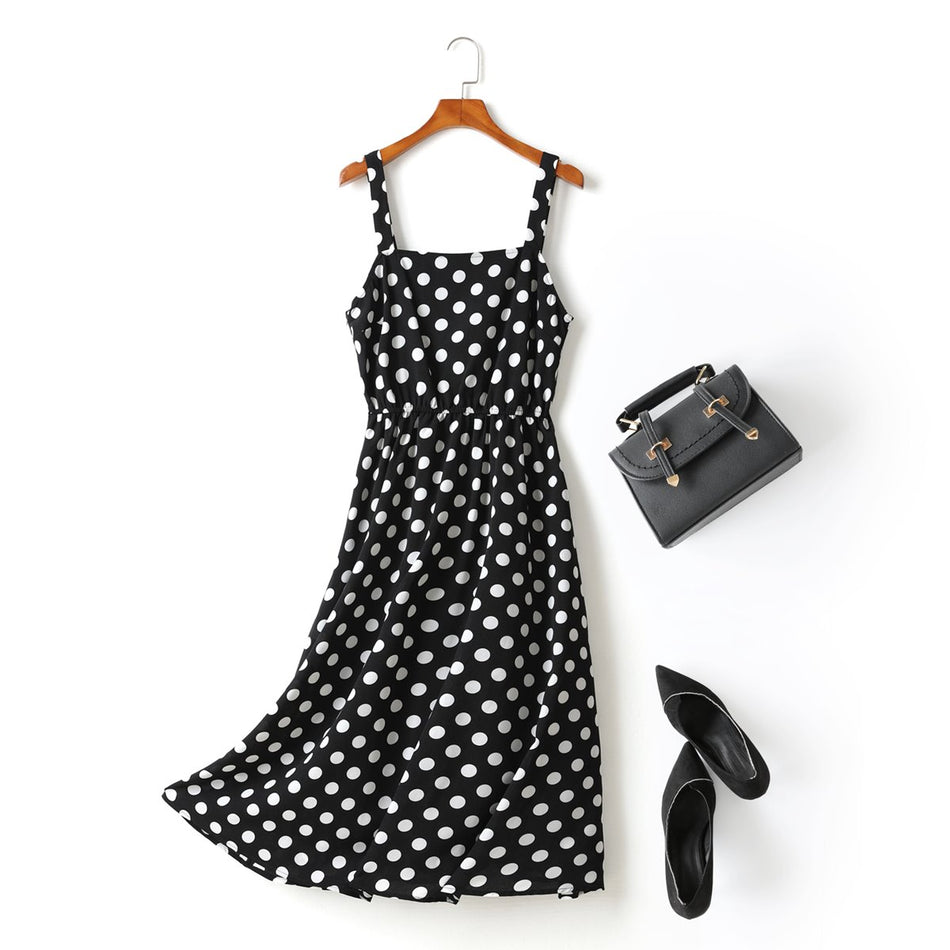 Maris Plus Size Polka Dots Square Neck Swing Camisole Sleeveless Midi Dress (Black, White)