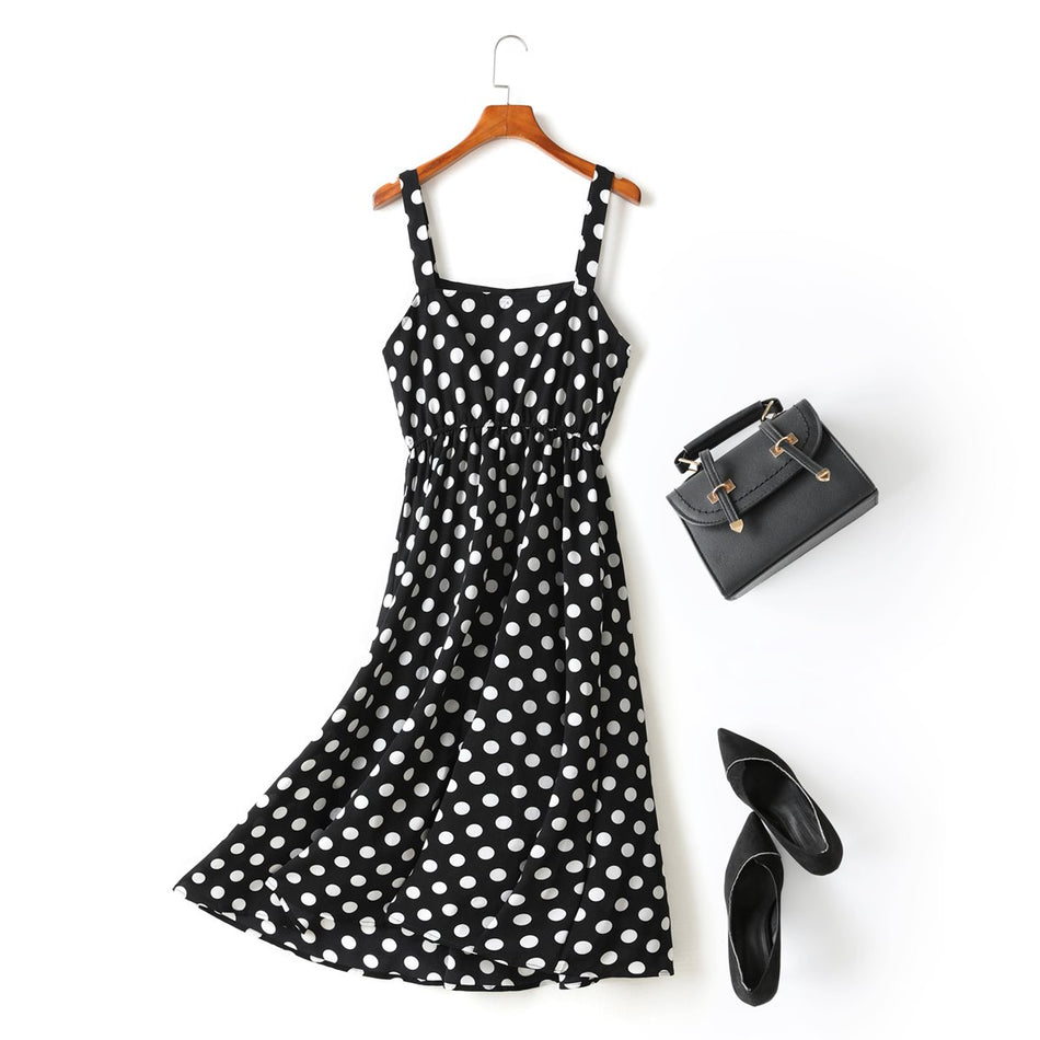 Natalee Plus Size Polka Dots Square Neck Swing Camisole Sleeveless Midi Dress (Black, White)