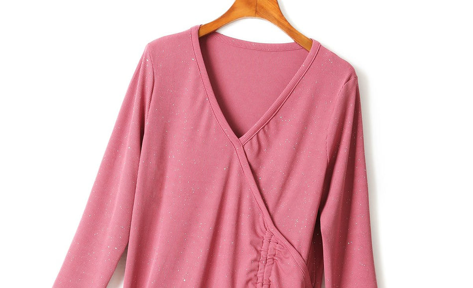 Maryanne Plus Size V Neck Wrap Shimmer Long Sleeve T Shirt Blouse (Pink, Black)
