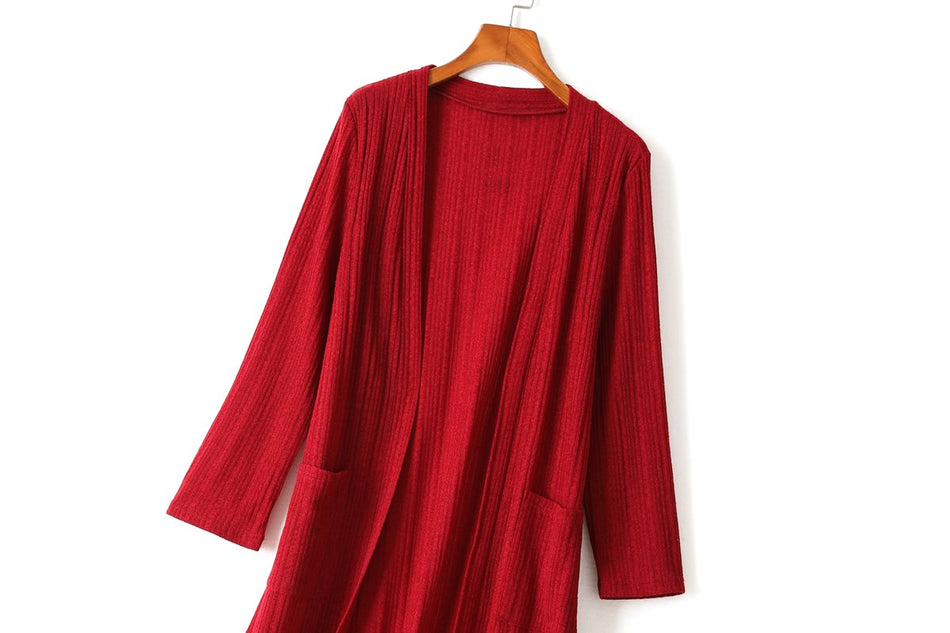 Yvette Plus Size Tunic Cardigan (Black, Red)