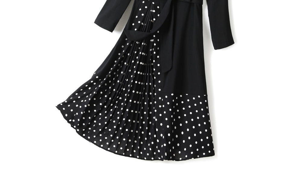 Yana Plus size Polka Dots Pleated Long Sleeve Midi Dress