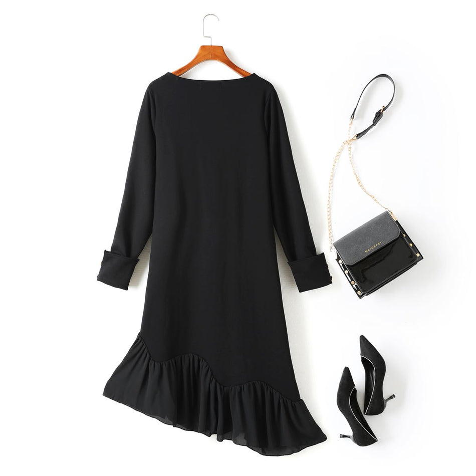 Lana Plus Size Black Asymmetric Boatneck Long Sleeve Midi Dress