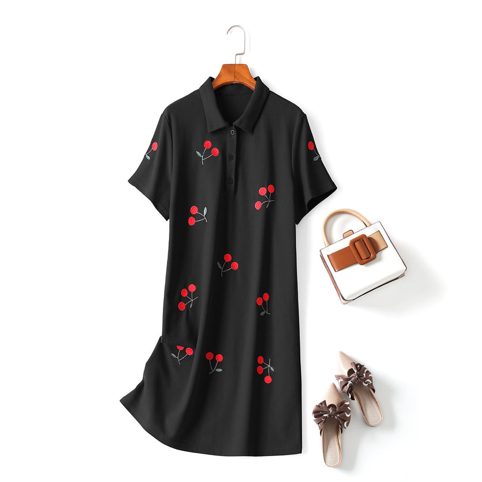 Annette Plus Size Cherry Polo T Shirt Dress
