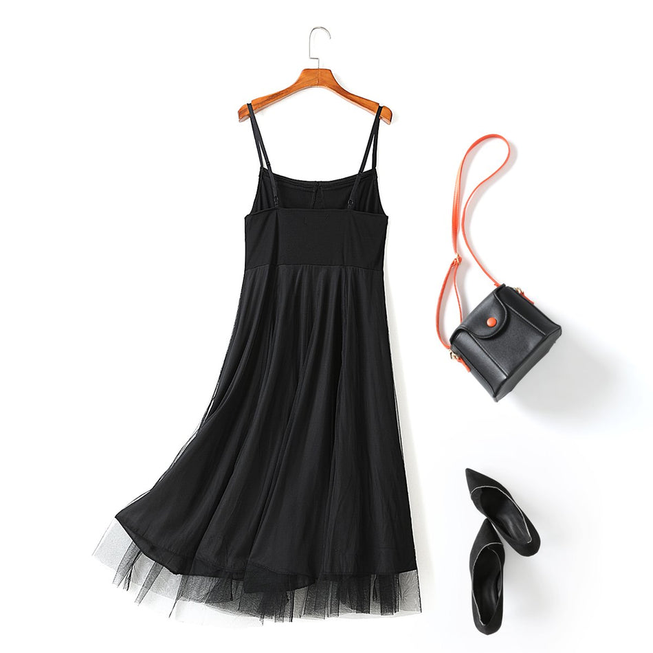 Yula Plus Size Bustier Tulle Black Camisole Party Sleeveless Midi Dress