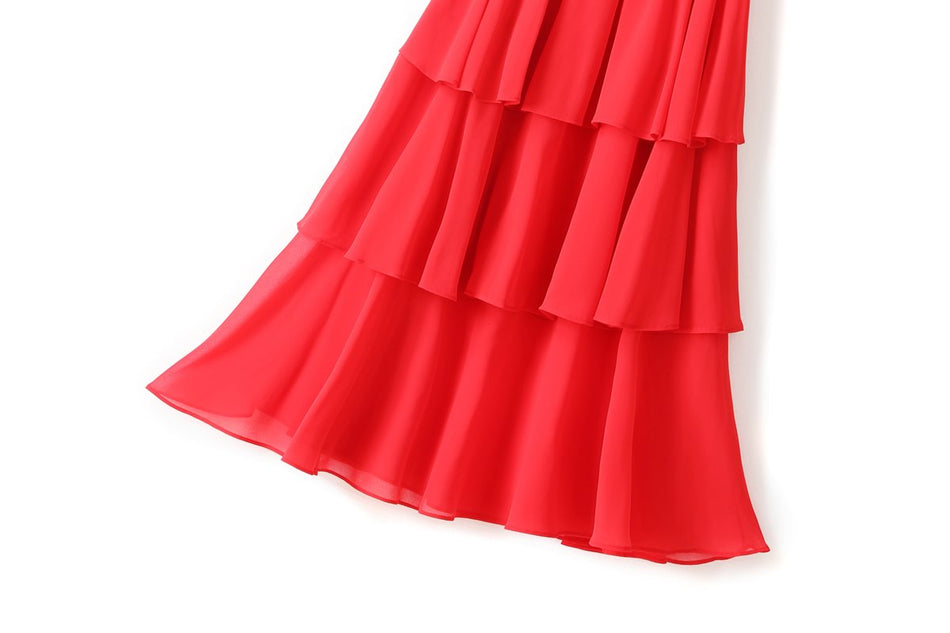 Yusra Plus Size Tier Off The Shoulder Short Sleeve Midi Dress (Red, Black) (Suitable for Weddings and Weekends)