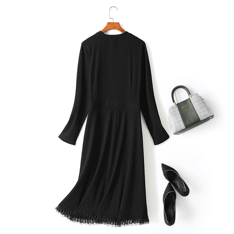 Ysabel Plus Size V Neck Buttons Tassel Hem Long Sleeve Midi Dress (Suitable for Work, Office and Weekends)