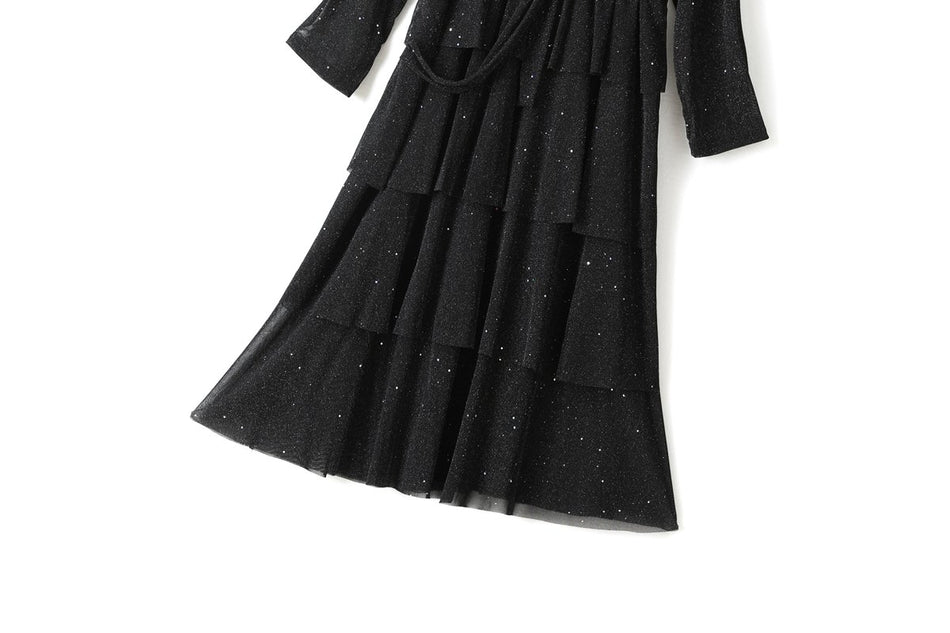 Yulia Plus Size V Neck Wrap Black Sparkles Shimmer Long Sleeve Midi Dress (Suitable for Evening Wear, Weddings and Weekends)