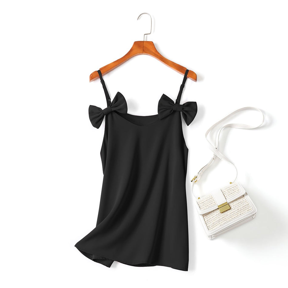 plus size black bow spaghetti top