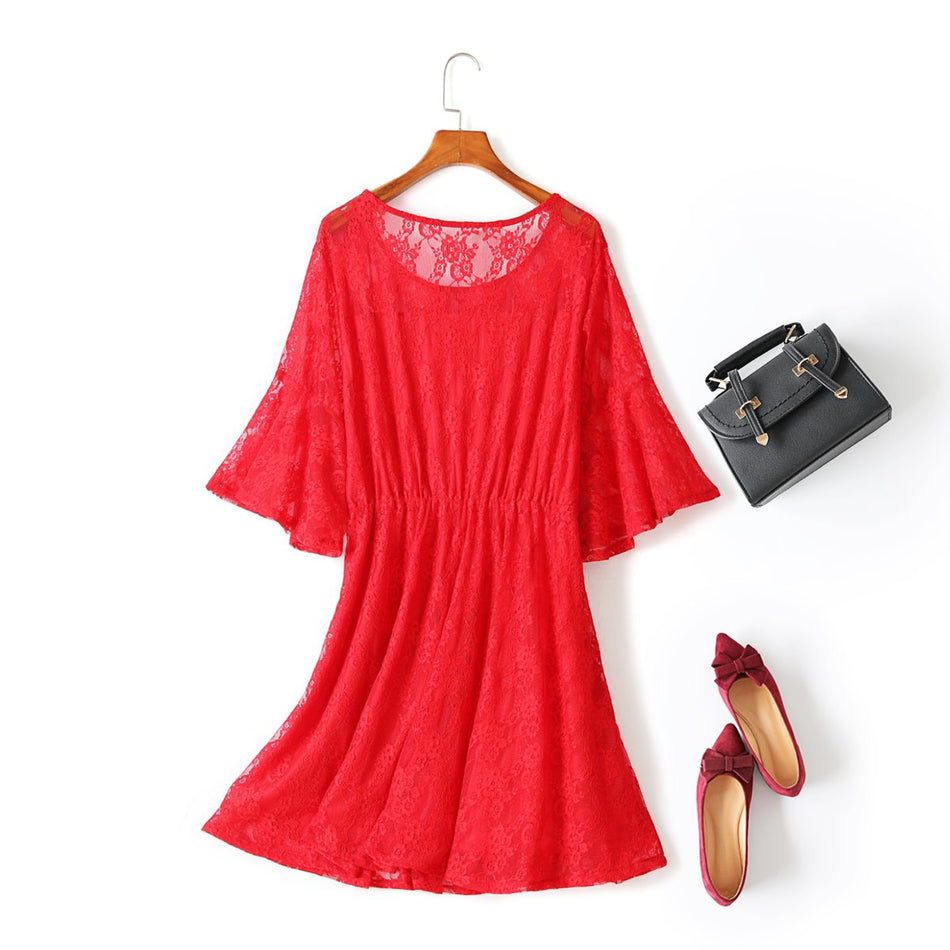 Yara Plus Size Lace Bell Mid Sleeve Dress (Red, Black) (Suitable for Weddings and Weekends)