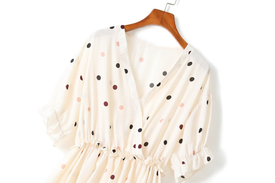 Zahra Plus Size Polka Dots Chiffon Wrap V Neck Blouse