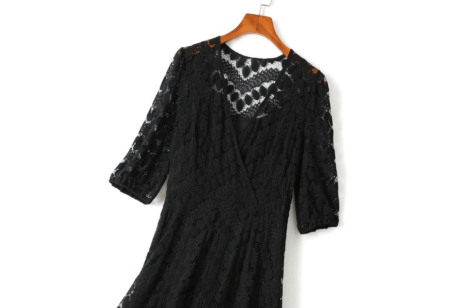 Ziva Plus Size Black Lace Midi Dress