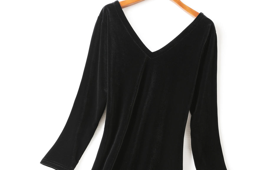 (Customizable!) Ivana Velvet V Neck Bodycon Black Long Sleeve Dress