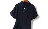 Esther Plus Size Polo Pleat Short Sleeve Shirt Dress (Blue, Pink)