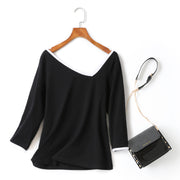 Danielle Plus Size Knit Cotton Asymmetric Neckline Colourblock Mid Sleeve T Shirt Top  (Ready Stock Black 4XL - 1 Piece)