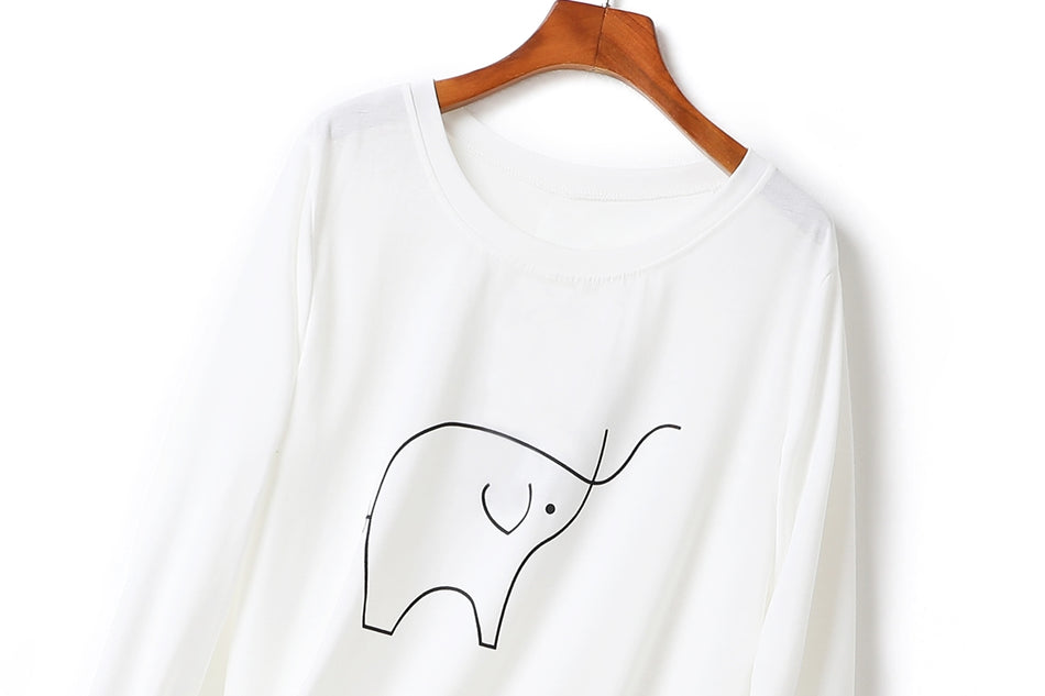 Inez Plus Size Round Neck Elephant Sketch Long Sleeve T Shirt Top (White, Black, Khaki)